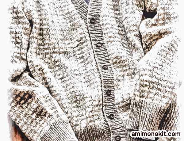 無料編み図メンズ棒針編み毛糸フォワールメンズカーディガン格子柄2