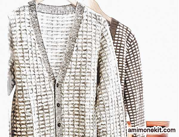 無料編み図メンズ棒針編み毛糸フォワールメンズカーディガン格子柄4