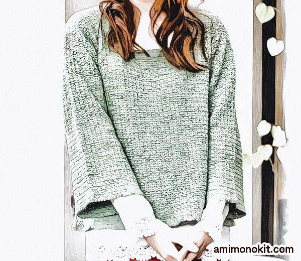 作品♪213w-3フレアースリーブのセーター4