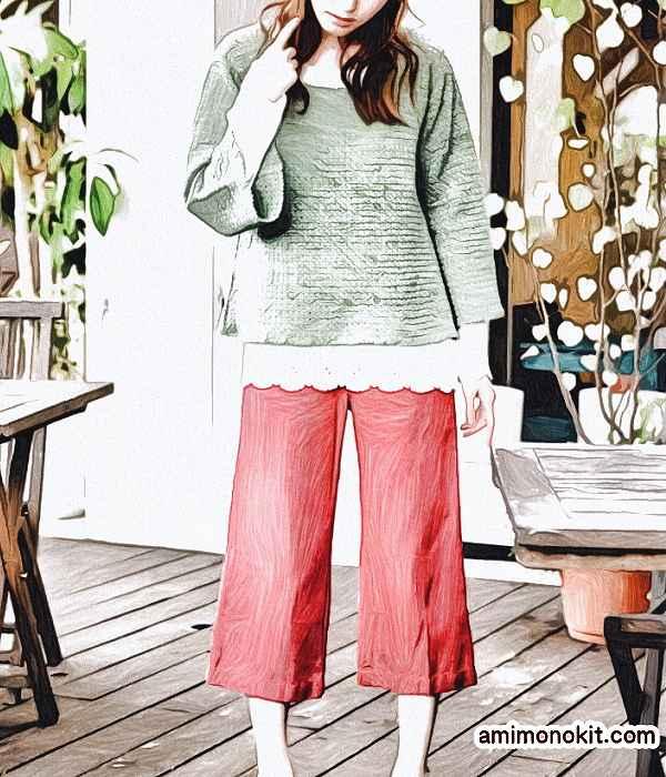 作品♪213w-3フレアースリーブのセーター1