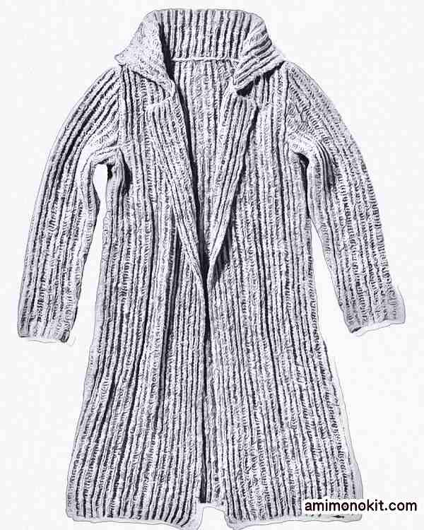 棒針編みロングコート無料編み図毛糸ピエロ3