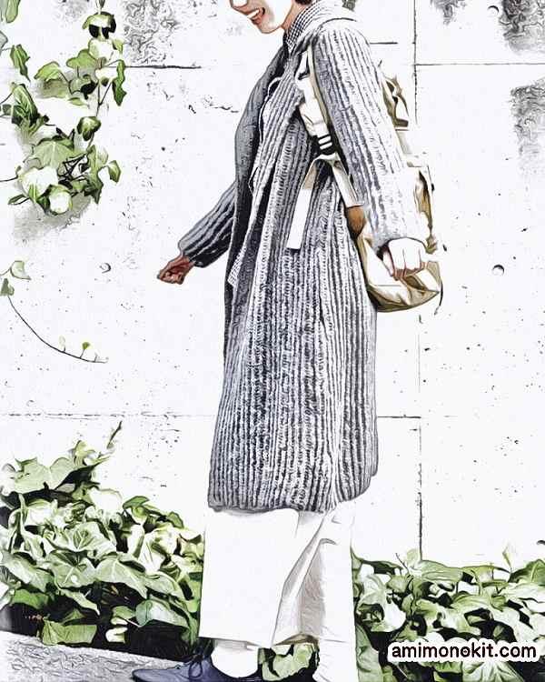 棒針編みロングコート無料編み図毛糸ピエロ4