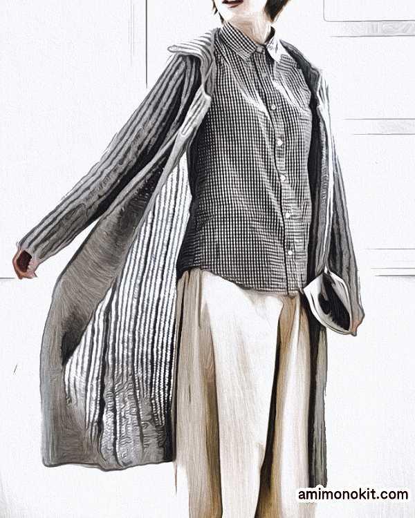 棒針編みロングコート無料編み図毛糸ピエロ2
