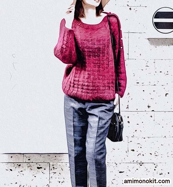 シルクとモヘヤのプルオーバー棒針編み無料編み図2