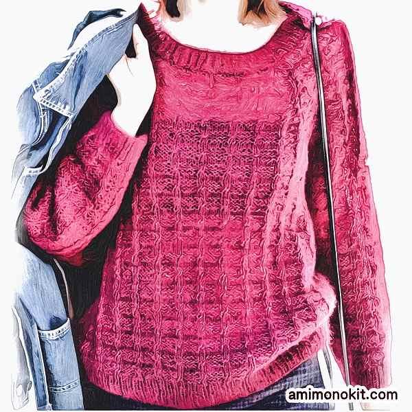 シルクとモヘヤのプルオーバー棒針編み無料編み図4