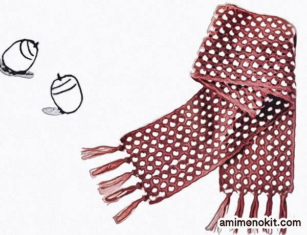 無料編み図かぎ針編みドット柄マフラー毛糸ピエロ3