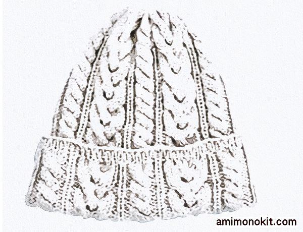 棒針編みアラン模様のニットキャップ無料編み図毛糸ピエロ楽天4