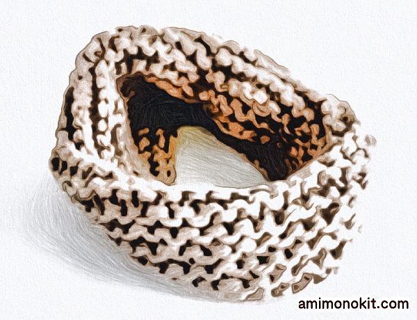 無料編み図棒針編みワンレイヤースヌード4 - コピー
