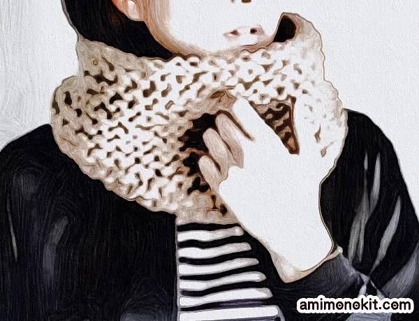 無料編み図棒針編みワンレイヤースヌード4