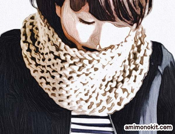 無料編み図棒針編みワンレイヤースヌード1
