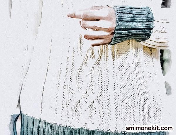 棒針編み無料編み図作品♪213fw-19アラン模様のセーター3