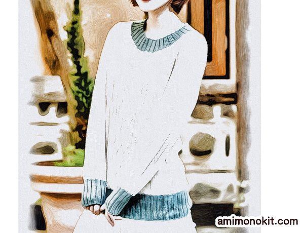 棒針編み無料編み図作品♪213fw-19アラン模様のセーター1