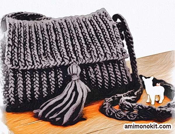 無料編み図棒針編みショルダーバッグ1