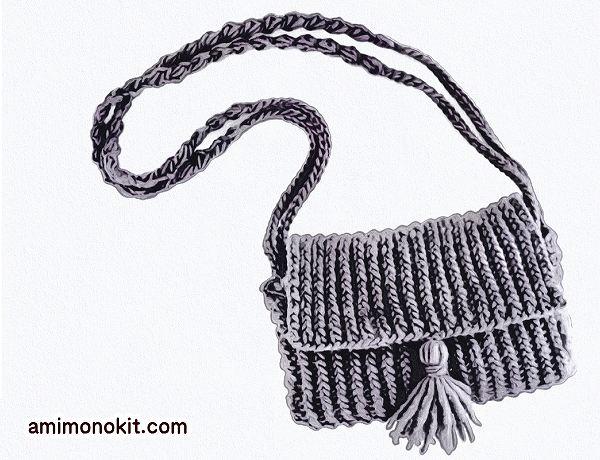 無料編み図棒針編みショルダーバッグ2