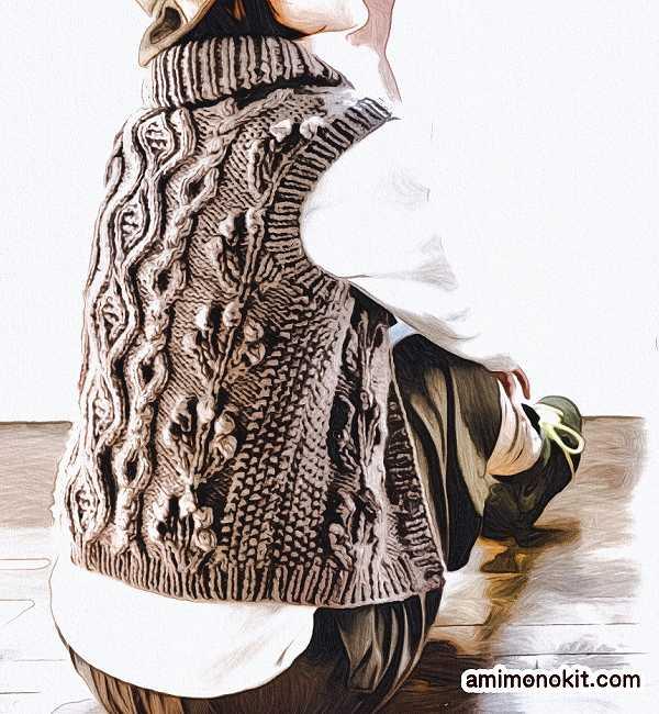 無料編み図棒針編みアラン模様の襟付きベスト3