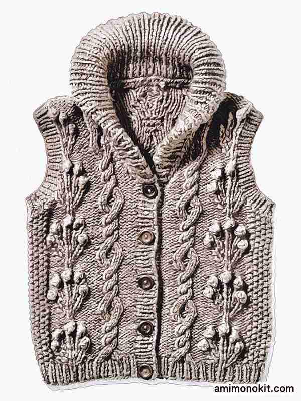 無料編み図棒針編みアラン模様の襟付きベスト4