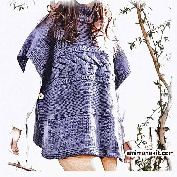 棒針編み無料編み図ポンチョ毛糸アミドゥトリコ1