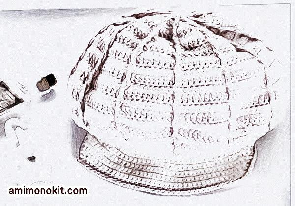 かぎ針編み無料編み図レシピキャスケット帽1