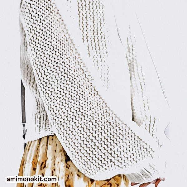 棒針編み無料編み図楽天毛糸ピエロレクレールバルーンスリーブセーター2