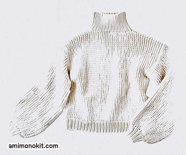 棒針編み無料編み図楽天毛糸ピエロレクレールバルーンスリーブセーター3