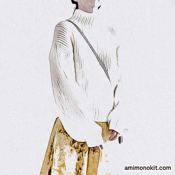 棒針編み無料編み図楽天毛糸ピエロレクレールバルーンスリーブセーター1