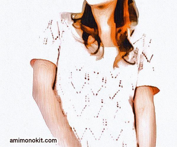 棒針編み透かし模様のサマーセーター毛糸ピエロ楽天2