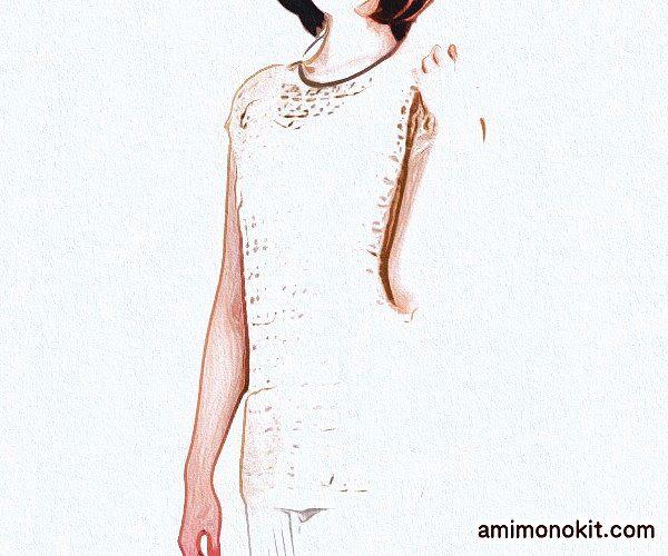 毛糸ピエロかぎ針編みプルオーバー無料編み図フレンチ袖のプル2