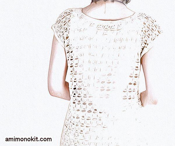 毛糸ピエロかぎ針編みプルオーバー無料編み図フレンチ袖のプル3