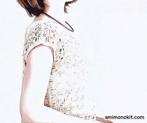 毛糸ピエロかぎ針編みプルオーバー無料編み図フレンチ袖のプル1