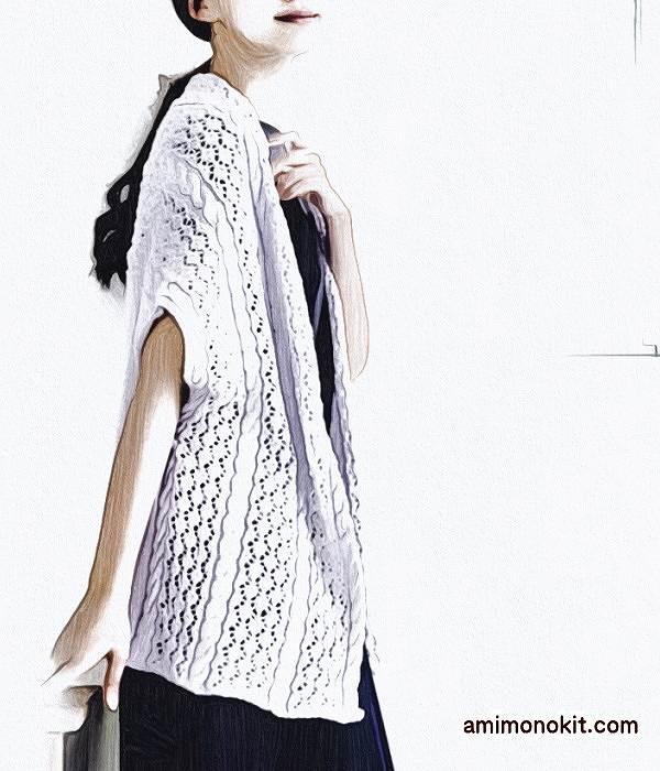 無料編み図毛糸ザッカストアーズ棒針編みショールジレ手編み1