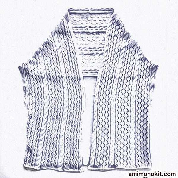 無料編み図毛糸ザッカストアーズ棒針編みショールジレ手編み3