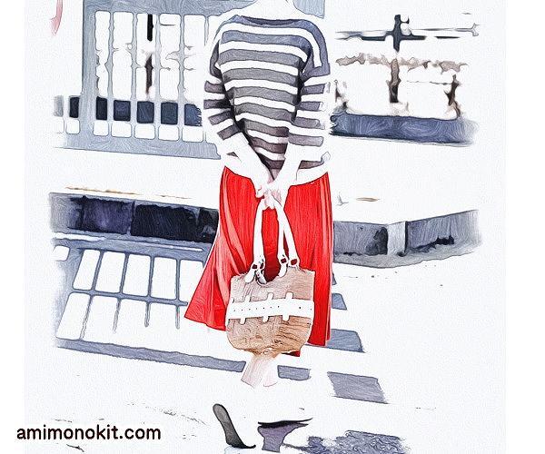 棒針編み無料編み図毛糸ピエロ手編みオーガビッツワンヘンゼル七分袖ボーダーセーター4