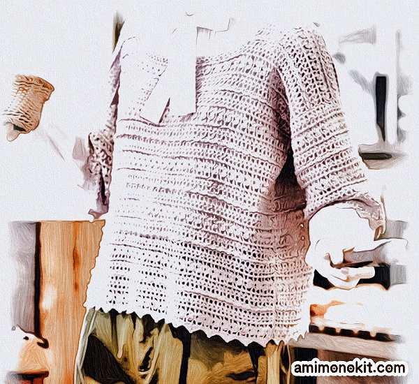 無料編み図かぎ針編みピエロクシェル春夏クロッシェ編みのプルオーバー1