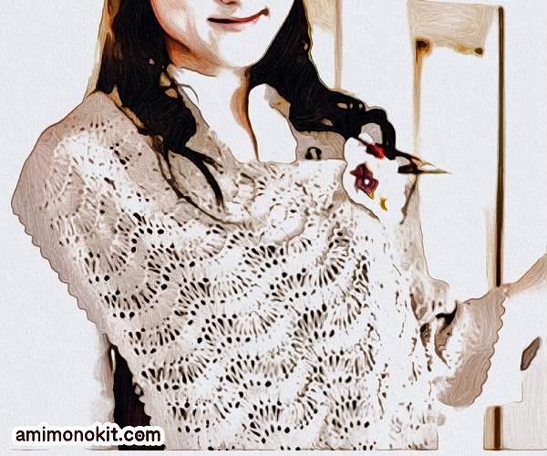 あみこもびより手編み無料編み図レシピ2wayショール1