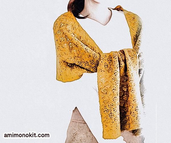 楽天無料編み図かぎ針編みのショールピエロ純毛極細-Plus-ミニストール1