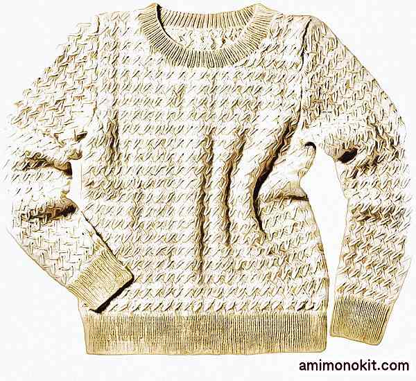無料編み図棒針編みデザインセーター毛糸手編みプルオーバー3