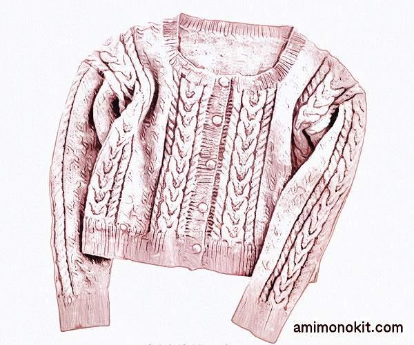 棒針編み中細手編み毛糸ピエロ純毛段染め無料編み図カーディガン3