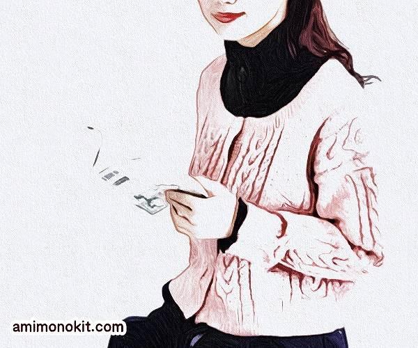 棒針編み中細手編み毛糸ピエロ純毛段染め無料編み図カーディガン4