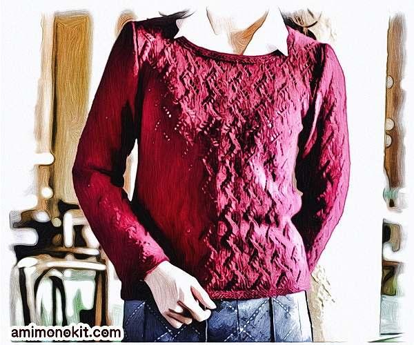 棒針編み無料編み図毛糸zakkaカシミヤバルファ糸替えアスペンセーター1