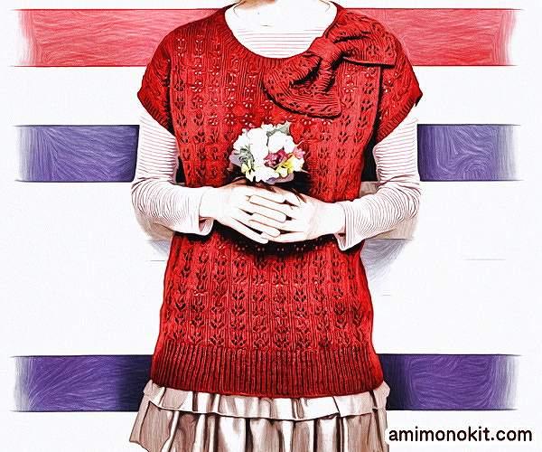 無料編み図毛糸ピエロ楽天シフォンアルルソミュール糸替えリボンのロングセーター1