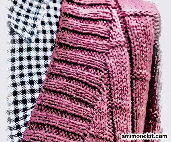 棒針編み無料編み図毛糸ピエロ手編みシンプルロングベスト3