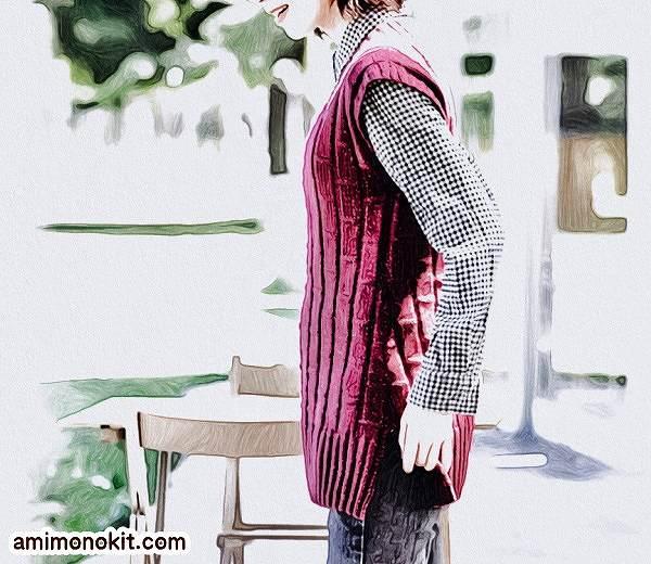 棒針編み無料編み図毛糸ピエロ手編みシンプルロングベスト4