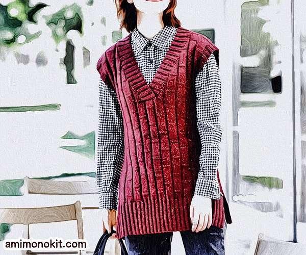 棒針編み無料編み図毛糸ピエロ手編みシンプルロングベスト2