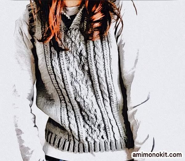 無料編み図棒針編み衿付きベスト作品♪z049-5-vestベスト1