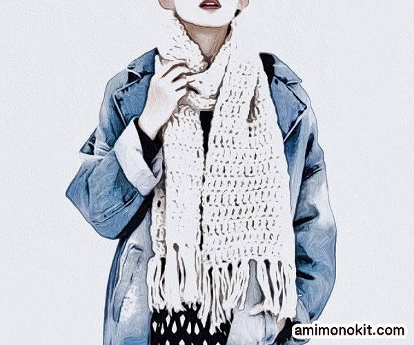 編み図つきかぎ針編みキット初心者マフラー毛糸ピエロ2