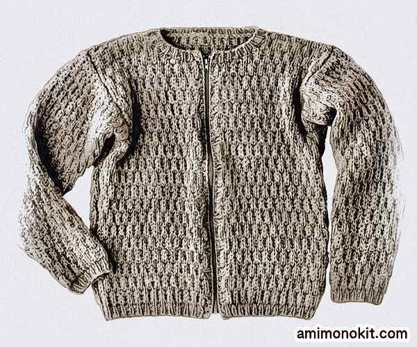 無料編み図棒針編みma-1風メンズブルゾン楽天毛糸ピエロフォンテーヌ3