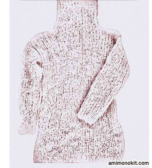 棒針編み無料編み図毛糸ピエロラビッツソフトメリノ中細タートルロングセーター3