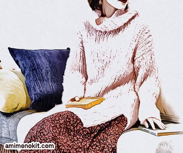 棒針編み無料編み図毛糸ピエロラビッツソフトメリノ中細タートルロングセーター1