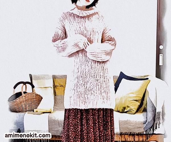 棒針編み無料編み図毛糸ピエロラビッツソフトメリノ中細タートルロングセーター2