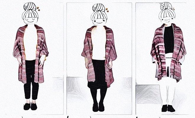 無料編み図棒針編み大判ショール楽天毛糸ピエロルーシーショール3